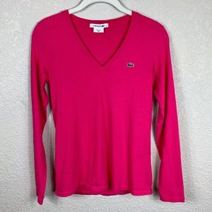 Lacoste Hot Pink Cotton V Neck Tee T Shirt - XS